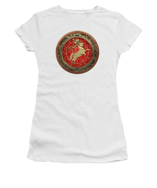 Western Zodiac - Golden Aries -the Ram On White Leather Women's T-Shirt (Athletic Fit)