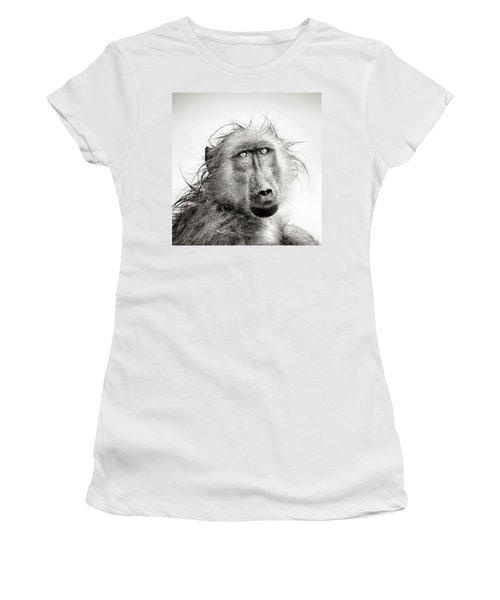 Wet Baboon Portrait Women's T-Shirt (Athletic Fit)