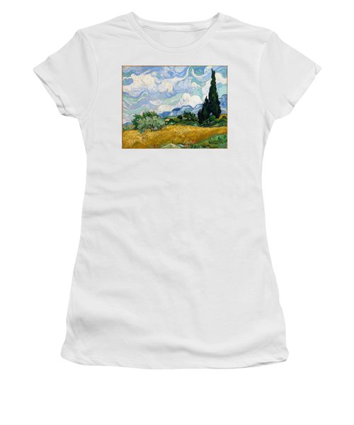Women's T-Shirt featuring the painting Wheatfield With Cypresses by Van Gogh