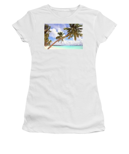 Whispering Palms. Maldives Women's T-Shirt (Junior Cut) by Jenny Rainbow