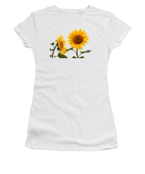 Whispering Secrets Sunflowers On White Women's T-Shirt (Athletic Fit)
