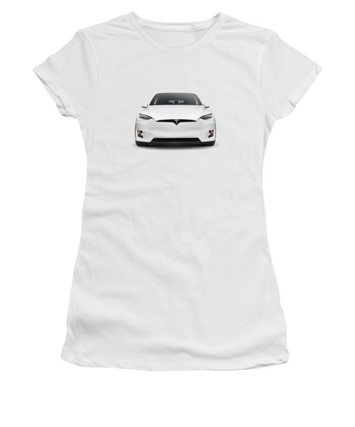 White 2017 Tesla Model X Luxury Suv Electric Car Front Isolated Art Photo Print Women's T-Shirt (Athletic Fit)