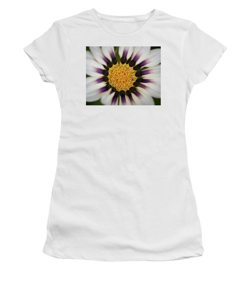 White And Purple Zinnia With Yellow Women's T-Shirt (Athletic Fit)