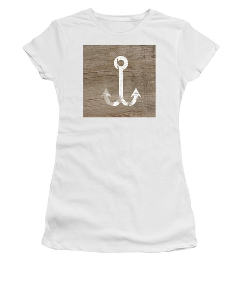 Women's T-Shirt featuring the mixed media White And Wood Anchor- Art By Linda Woods by Linda Woods