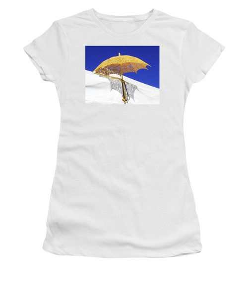 White At Base And Yellow On Blue Women's T-Shirt (Athletic Fit)