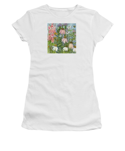 White Coneflowers In Garden Women's T-Shirt (Athletic Fit)
