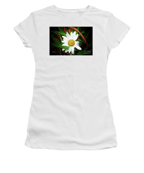 White Daisy Women's T-Shirt (Junior Cut) by Inspirational Photo Creations Audrey Woods
