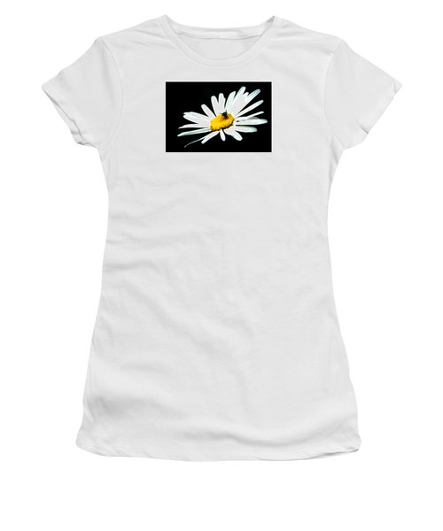 Women's T-Shirt (Junior Cut) featuring the photograph White Daisy Flower And A Fly by Alexander Senin