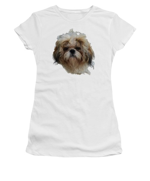 White Dog Head Women's T-Shirt (Athletic Fit)
