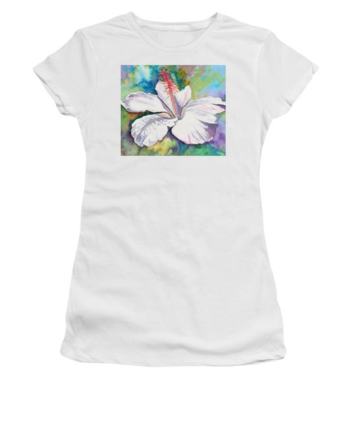 White Hibiscus Waimeae Women's T-Shirt (Athletic Fit)