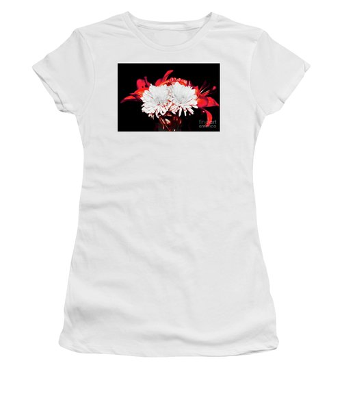 White Mums And Red Lilies Women's T-Shirt
