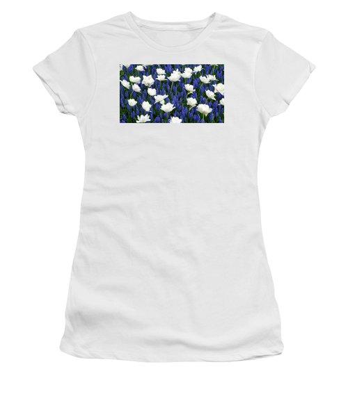 White On Blue Women's T-Shirt