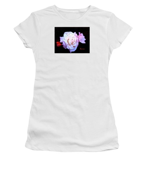 Women's T-Shirt (Junior Cut) featuring the photograph White - Pink Roses by Sadie Reneau