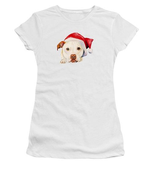 White Pit Bull Terrier Dog With Santa Hat Portrait Women's T-Shirt