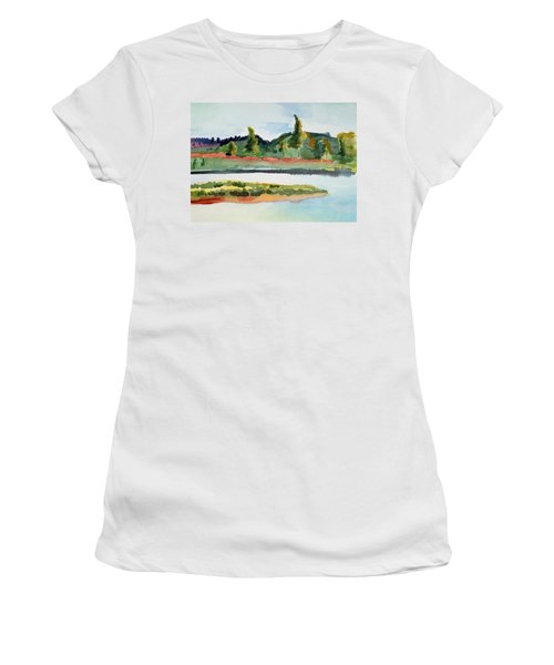White River At Royalton After Edward Hopper Women's T-Shirt (Athletic Fit)