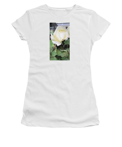 White Rose - Sympathy Card Women's T-Shirt (Athletic Fit)