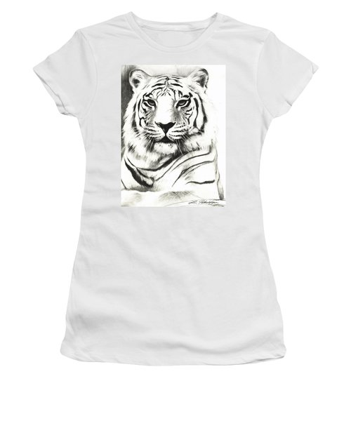 White Tiger Portrait Women's T-Shirt (Athletic Fit)