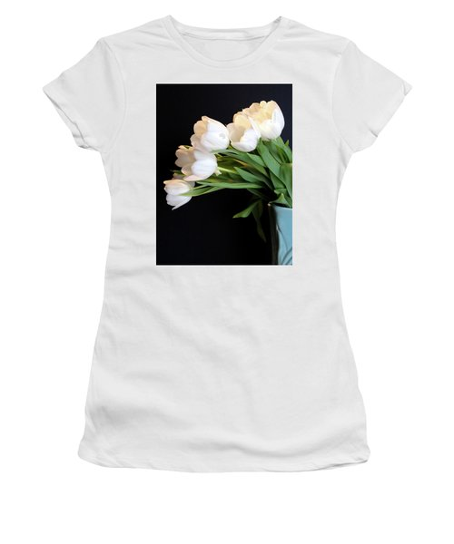 White Tulips In Blue Vase Women's T-Shirt (Junior Cut) by Julia Wilcox