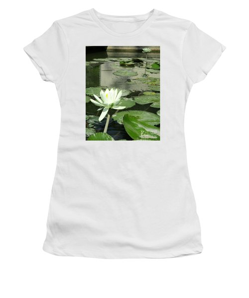 Women's T-Shirt (Junior Cut) featuring the photograph White Water Lily 3 by Randall Weidner