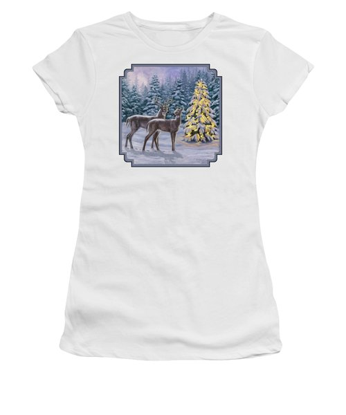 Whitetail Christmas Women's T-Shirt (Junior Cut) by Crista Forest