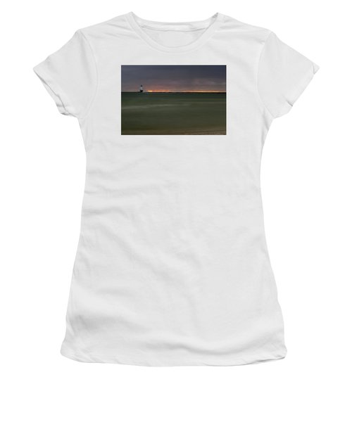 Wide View Of Lighthouse And Sunset Women's T-Shirt
