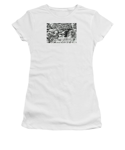 Window View Of Sope Creek In Black And White Women's T-Shirt (Junior Cut) by James Potts