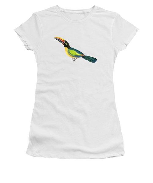 Winged Jewels 2, Watercolor Toucan Rainforest Birds Women's T-Shirt (Athletic Fit)