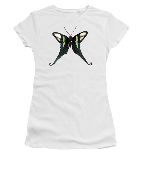 Winged Jewels 3, Watercolor Tropical Butterfly With Curled Wing Tips Women's T-Shirt