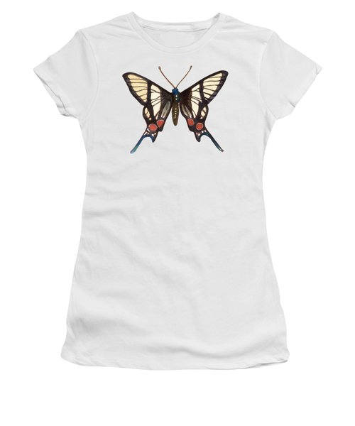 Winged Jewels 4, Watercolor Tropical Butterflie Black White Red Spots Women's T-Shirt (Athletic Fit)