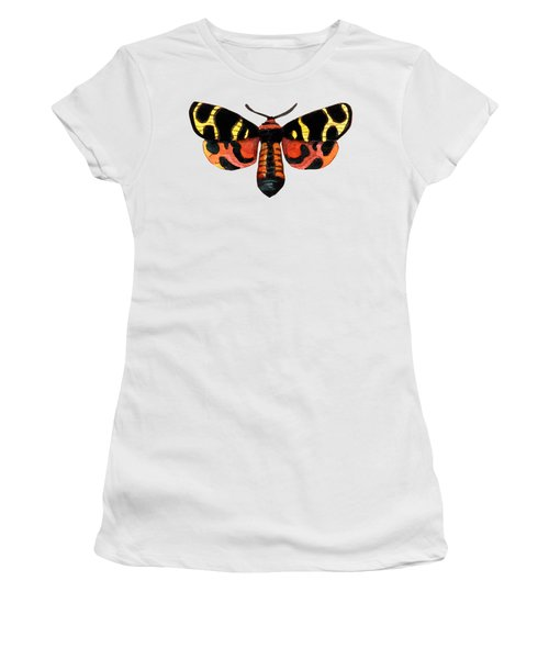 Winged Jewels 5, Watercolor Moth Black Yellow Orange And Red Tropical Women's T-Shirt