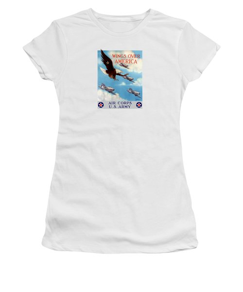 Wings Over America - Air Corps U.s. Army Women's T-Shirt (Junior Cut) by War Is Hell Store