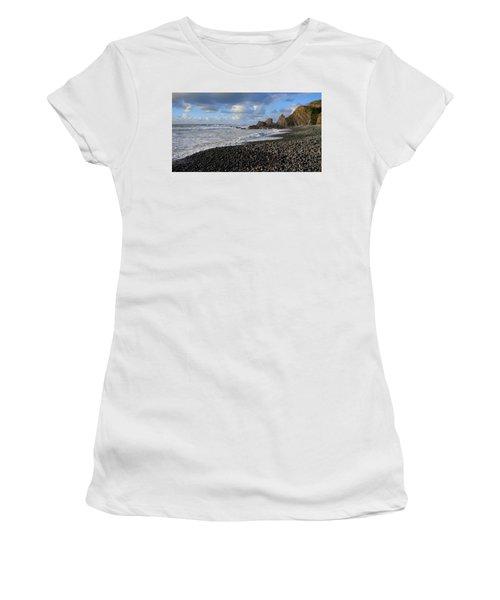 Winter At Sandymouth Women's T-Shirt (Junior Cut) by Richard Brookes