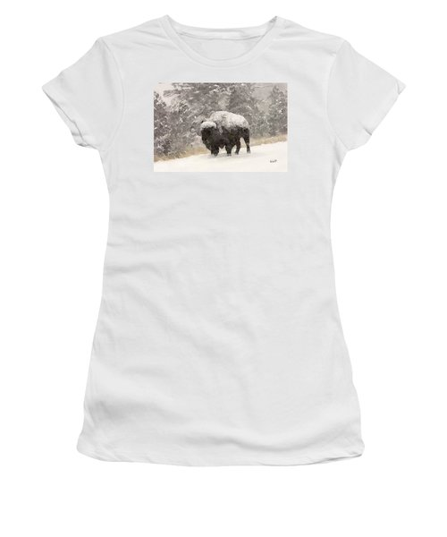 Women's T-Shirt (Junior Cut) featuring the digital art Winter Bison by Walter Chamberlain