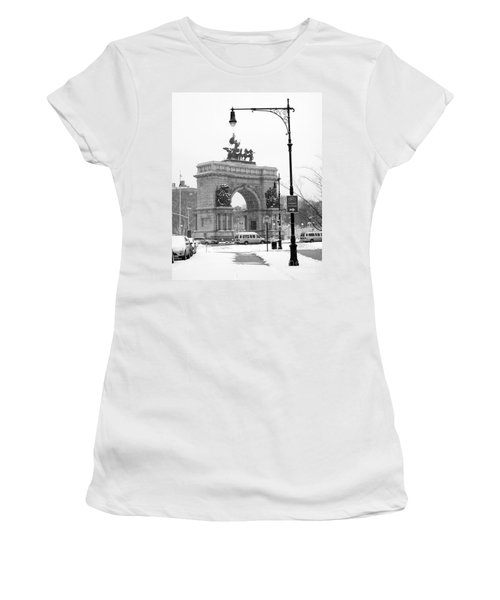 Winter Grand Army Plaza Women's T-Shirt (Junior Cut) by Mark Gilman