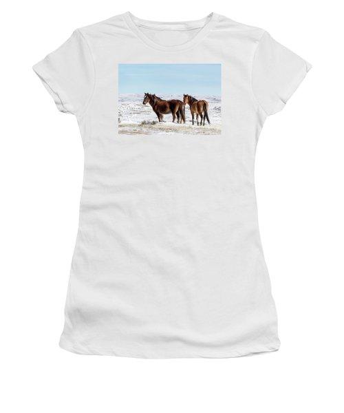 Winter In Sand Wash Basin - Wild Mustangs Women's T-Shirt
