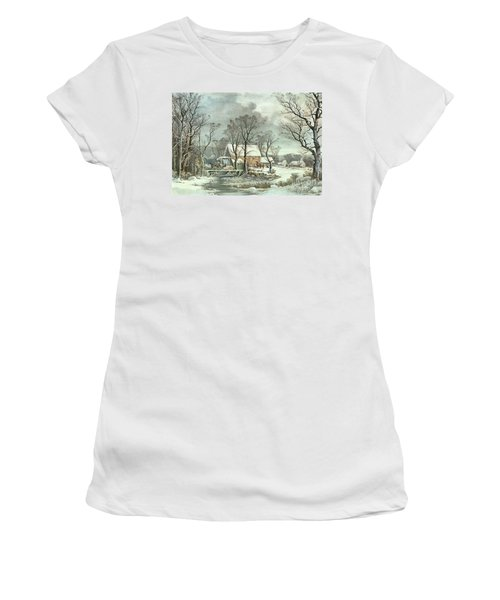 Winter In The Country - The Old Grist Mill Women's T-Shirt