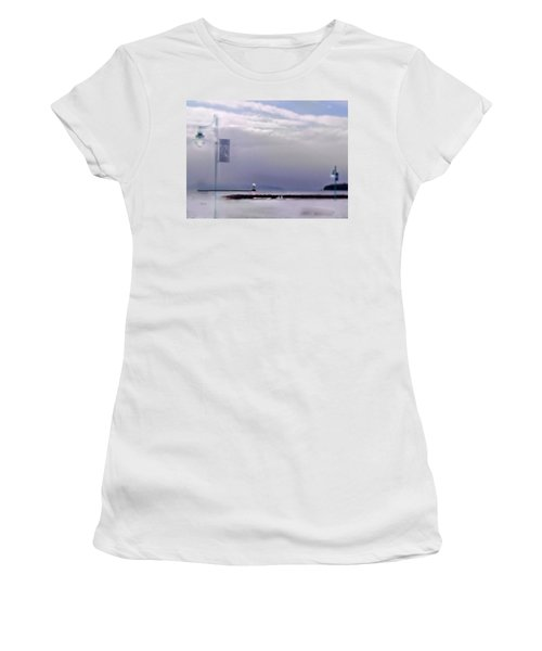 Winter Lights To Rock Point Digital Painting Of Evening Sentries At The Coast Guard Station Women's T-Shirt (Athletic Fit)