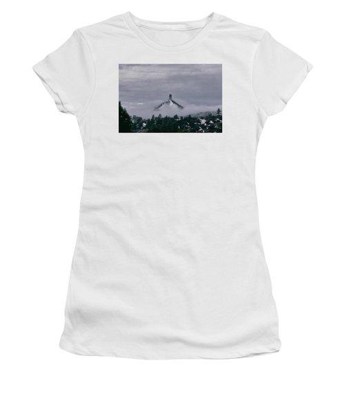 Winter Morning Fog Envelops Chimney Rock Women's T-Shirt