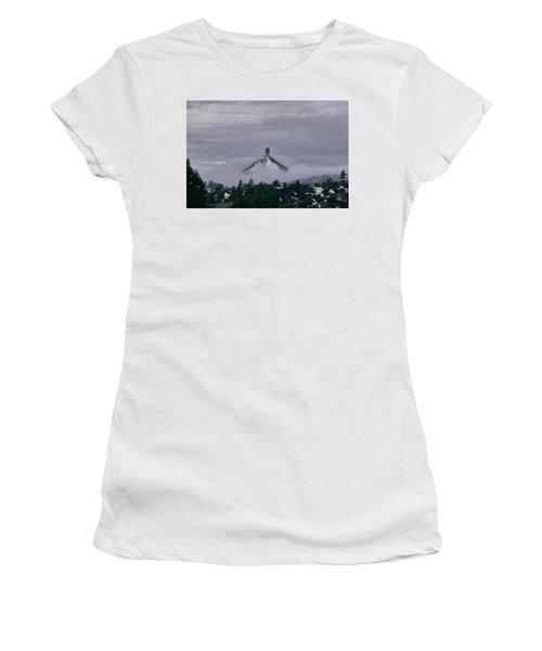Winter Morning Fog Envelops Chimney Rock Women's T-Shirt (Athletic Fit)