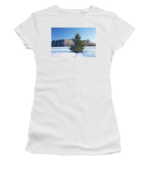 Wintry Fir Tree Women's T-Shirt (Junior Cut) by Teemu Tretjakov