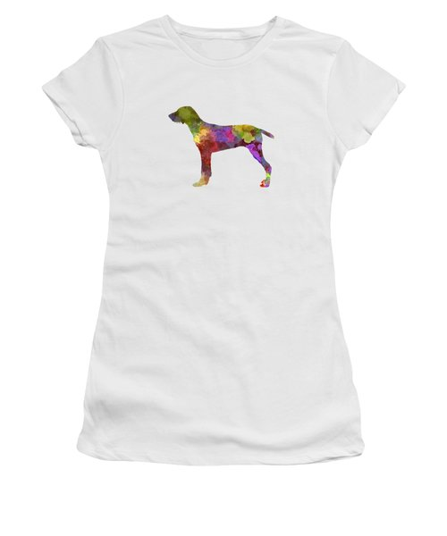 Wirehaired Slovakian Pointer In Watercolor Women's T-Shirt (Junior Cut) by Pablo Romero