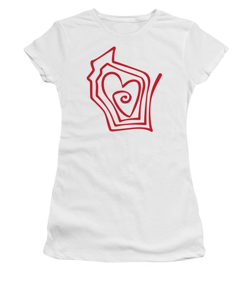 Wisconsin Drawn Women's T-Shirt (Athletic Fit)
