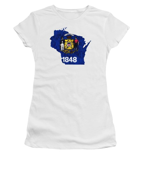 Wisconsin Map Art With Flag Design Women's T-Shirt