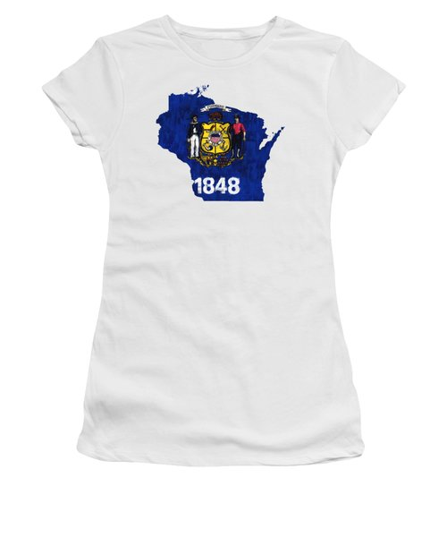Wisconsin Map Art With Flag Design Women's T-Shirt