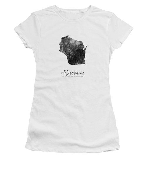 Wisconsin State Map Art - Grunge Silhouette Women's T-Shirt