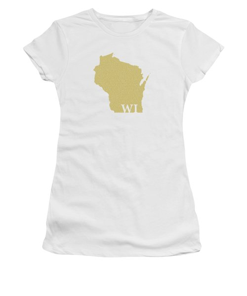 Wisconsin State Map With Text Of Constitution Women's T-Shirt