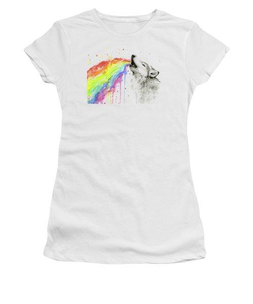 Wolf And Rainbow  Women's T-Shirt