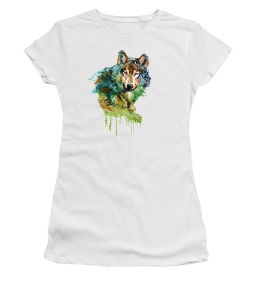 Wolf Face Watercolor Women's T-Shirt (Junior Cut) by Marian Voicu