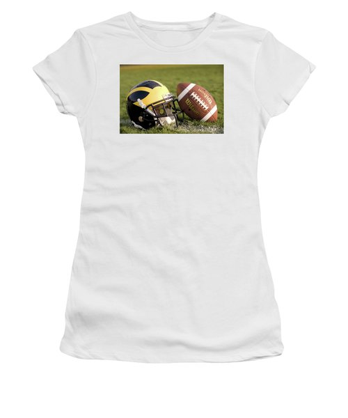 Wolverine Helmet With Football On The Field Women's T-Shirt (Athletic Fit)
