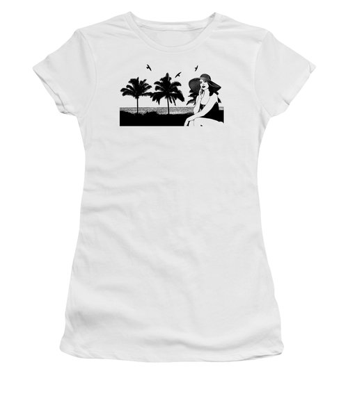 Woman At The Beach Palm Tree Silhouette Art Women's T-Shirt (Athletic Fit)